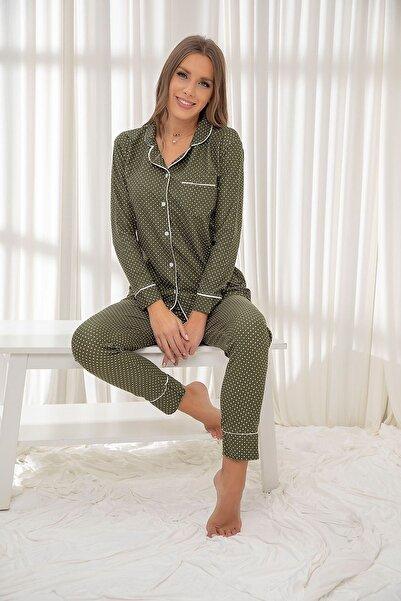 Siyah İnci Yeşil Süet Düğmeli Biyeli Pijama Takım