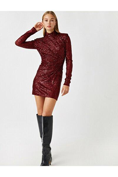 Koton Kadın Bordo Dik Yaka Uzun Kollu Pullu Kısa Elbise
