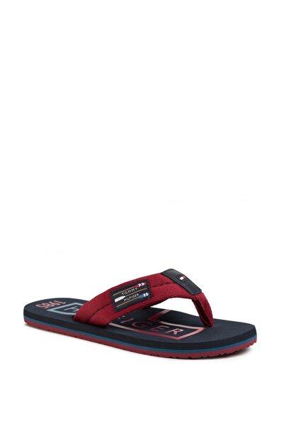 Tommy Hilfiger Erkek Lacivert Kırmızı Hilfiger Badge Beach Sandal Terlik Fm0fm02706