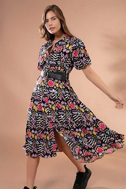 Y-London Kadın Lila Düğmeli Kemerli Balon Kol Elbise Y20S110-1939
