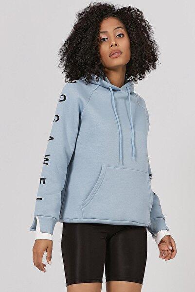 Y-London Kadın Mavi Manşet Detaylı İçi Polarlı Sweatshirt Y20W167-7662