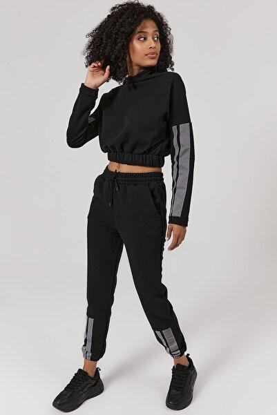 Y-London Kadın Siyah Reflektörlü Crop Eşofman Takımı Y20W169-1517