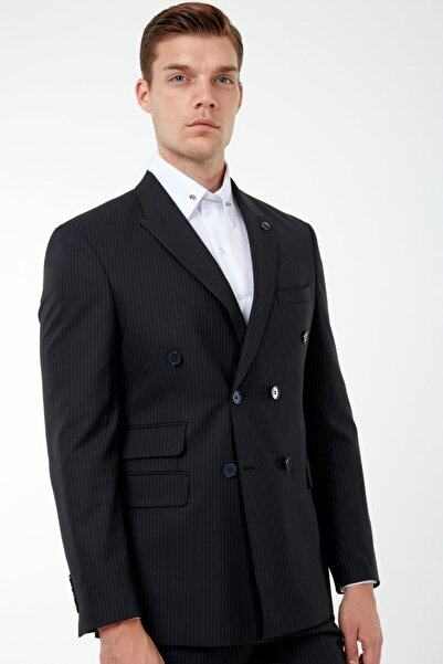 Jack Martin Erkek Siyah Çizgili Kruvaze Takım Elbise