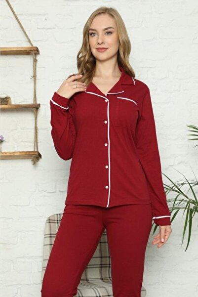 Stil Moda Kadın Kırmızı Pijama Takımı