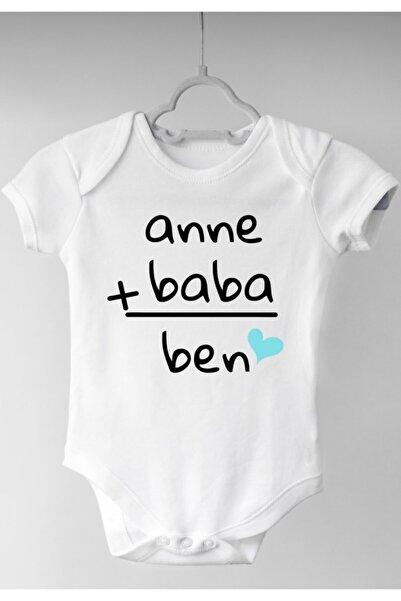 irembaby Unisex Bebek Anne Baba Ben Baskılı %100 Pamuklu Çıtçıtlı Body Zıbın