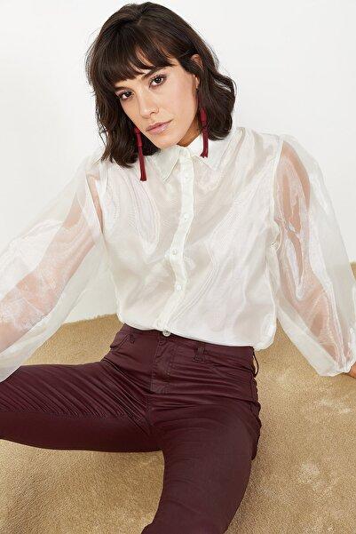 Lafaba Kadın Ekru Karpuz Kollu Organze Gömlek