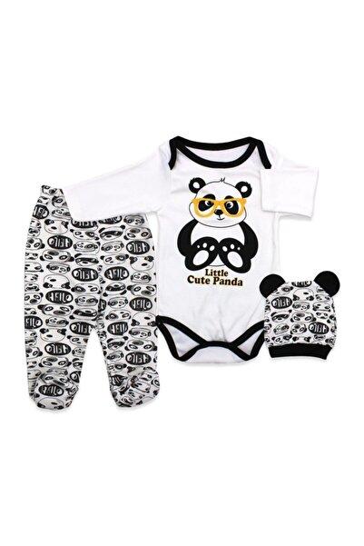 bebegen Bebek Gri Gözlüklü Panda Bereli 3'lü Takım