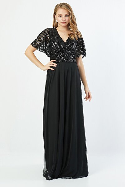 Lafaba Kadın Siyah Kruvaze Payetli Kloş Kesim Abiye Elbise