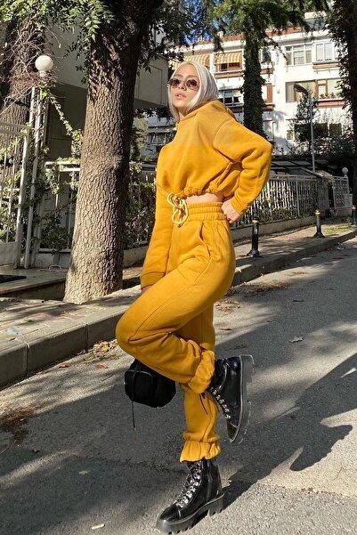 SwistLuxury Kadın Sarı Kapüşonlu İçi Pamuklu 3 İplik Eşofman Takımı