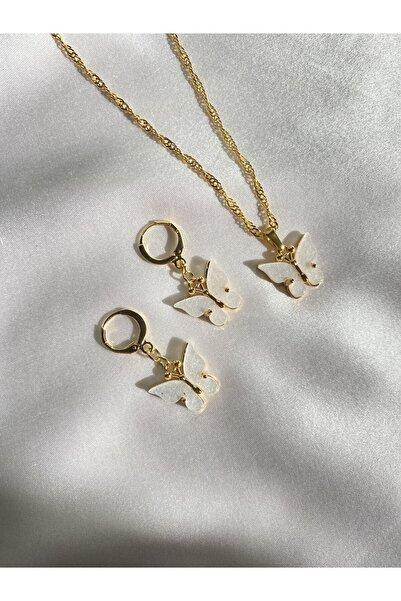 Harlofia Jewelry Kadın Altın Kaplama Beyaz Kelebek Kolye Küpe Seti