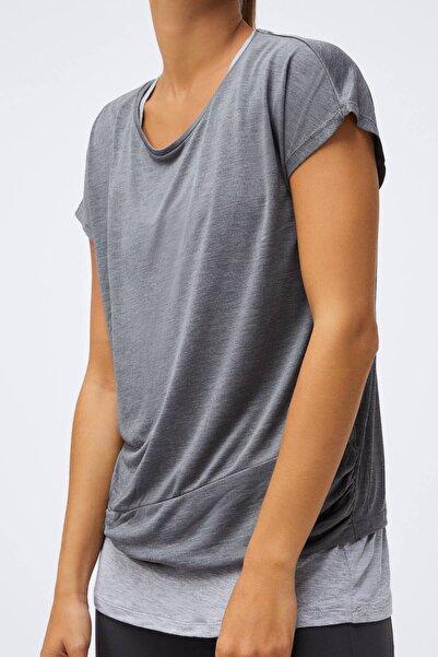 Oysho Kadın Koyu Gri Çift Katlı Modal Tişört