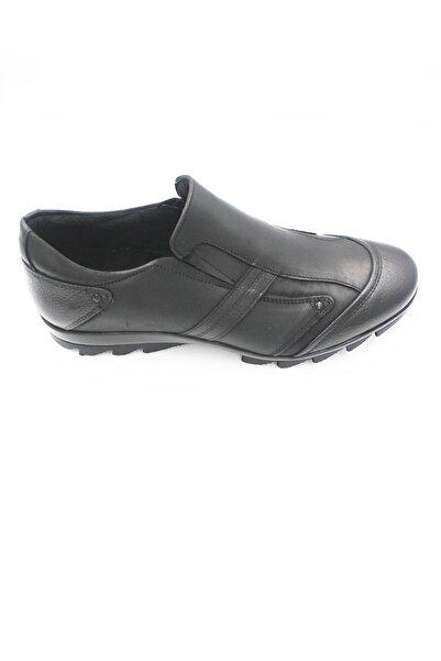 Fosco Erkek Siyah Hakiki Deri Bağcıksız Günlük Casual Ayakkabı Fsc3530siyah