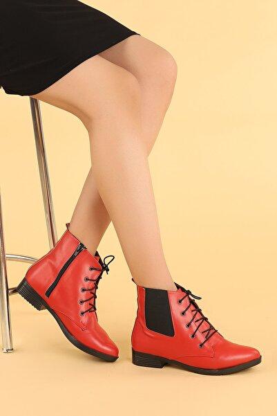 Ayakland Kadın Kırmızı Cilt Bağcıklı Termo Taban Bot Ayakkabı