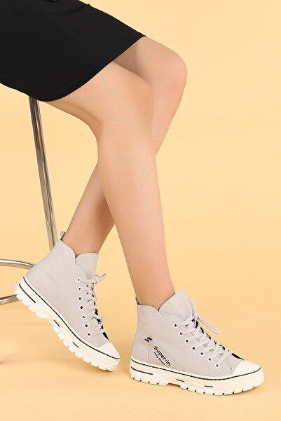 Ayakland Kadın Gri Cilt Günlük Termo Taban Bot Ayakkabı 110