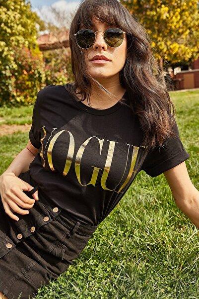 Lafaba Kadın Siyah Parlak Yazı Baskılı T-shirt