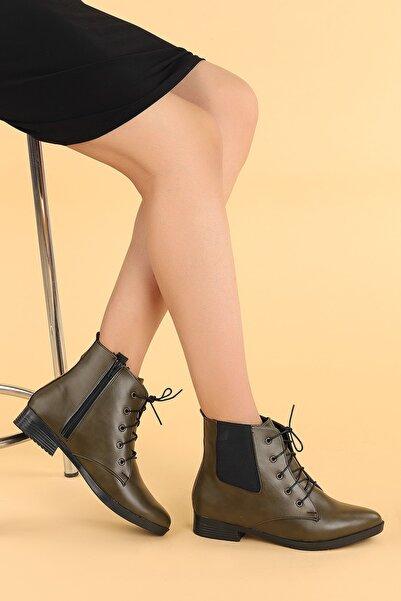Ayakland Kadın Haki Cilt Bağcıklı Termo Taban Bot Ayakkabı 387-01