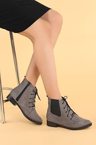 Ayakland Kadın Gri Süet Bağcıklı Termo Taban Bot Ayakkabı 387-01
