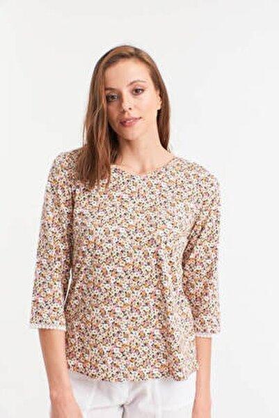 Kadın ÇOK RENKLİ Çiçek Desenli Kolları Dantelli Örme Bluz HN2624