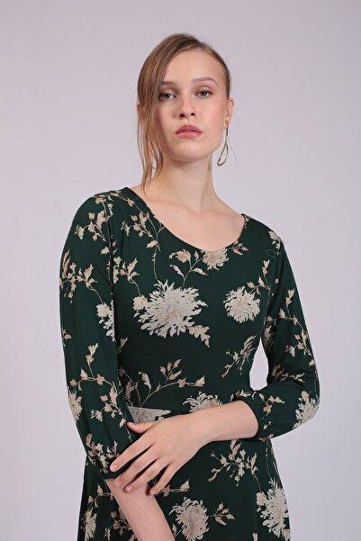 Hanna's by Hanna Darsa Kadın Yeşil Bej Çiçek Desenli Uzun Kollu Elbise  HN2796
