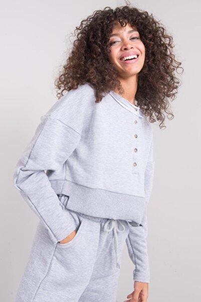 BSL Kadın Gri Düğme Kapama Detaylı Sweatshirt