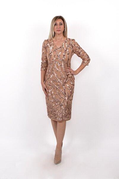 EZZE Kadın Altın  Büyük Beden Desenli Abiye Elbise