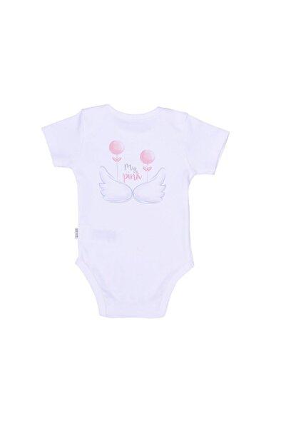 kitikate Kız Bebek Beyaz   Organik Angel Amerikan Yaka Body 86591