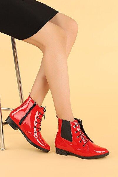 Ayakland Kadın Rugan Bağcıklı Termo Taban Bot Ayakkabı 387-01