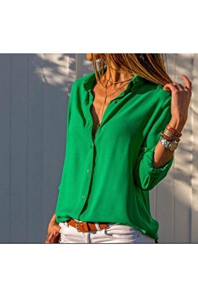 Modayakamoz Kadın Dokuma Viskon Kumaş Efsane Basic Gömlek