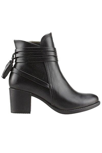 Ayakland Kadın Siyah Cilt Topuklu Bot 6 cm