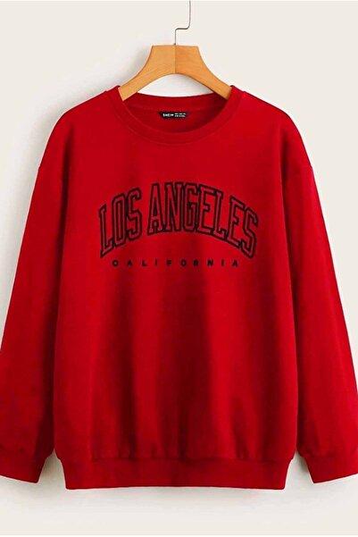 Madmext Kadın Kırmızı Baskılı Oversize  Sweatshirt Mg780