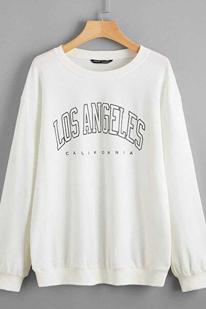 Madmext Kadın  Beyaz Baskılı Oversize Sweatshirt Mg780