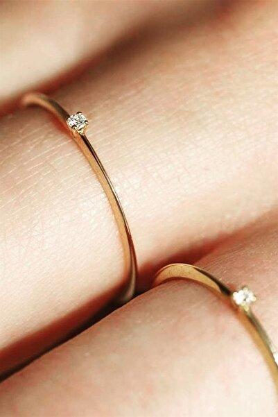 Cem Aykan Kuyumculuk Minimal Tek Evlilik Teklif Yüzüğü Tektaş - Ak0155