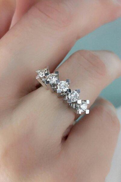 Crystal Diamond Zirconia Işıklı Kutuda Labaratuvar Pırlantası Beştaş Yüzük