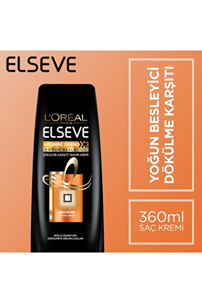ELSEVE L'oréal Paris Arginine Direnç X3 Nutri Omega Dökülme Karşıtı Bakım Kremi 360 Ml