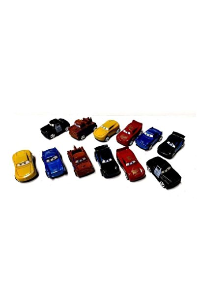 CARS Şimşek Mcqueen Ve Arkadaşları 12 Adet Plastik Çek Bırak Kolleksiyon Seti