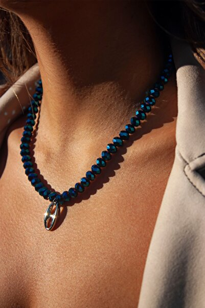 La Percha Design Lacivert Kalın Kristal Taşlı Gümüş Düğme Uçlu Kolye