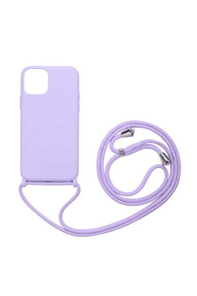 Fibaks Apple Iphone 12 Mini Kılıf Ipli Boyun Askılı Içi Kadife Lansman Yumuşak Silikon