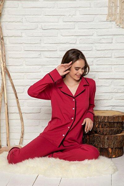 ELİTOL Kadın Bordo Düğmeli Uzun Kol Pijama Takımı