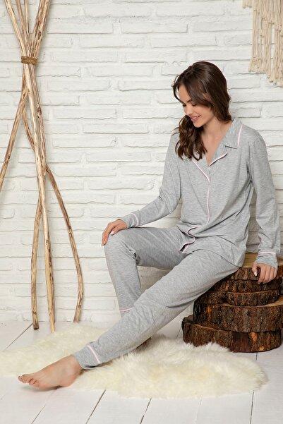 ELİTOL Kadın Gri Pamuklu Likralı Düğmeli Pijama Takımı