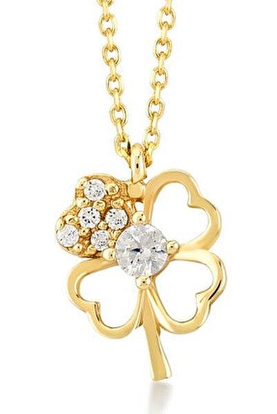 Gelin Diamond 14 Ayar Altın 4 Yapraklı Içi Taşlı Kalp Şekilli Yonca Şans Kolye