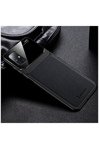 Zebana Samsung Galaxy A71 Lens Deri Siyah Kılıf