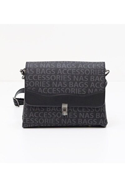 Accessories Kadın Siyah Nasbag Omuz Askılı Kapaklı Baskılı Çanta