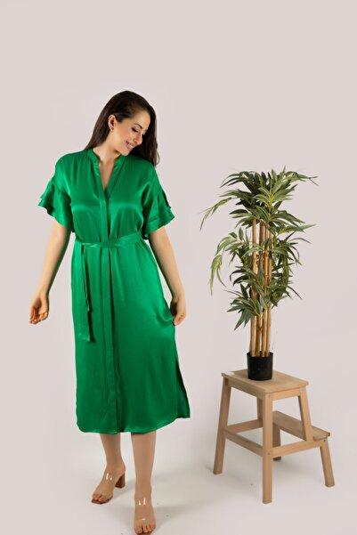 Sohofly Yeşil Kol Volanlı Yırtmaçlı Saten Viskon Trend Elbise / Shaw21-106