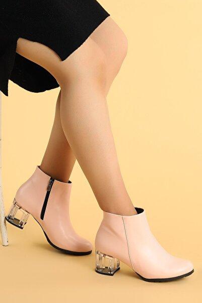 Ayakland 520 Şeffaf Cilt 6 Cm Topuk Termo Taban Bayan Bot Ayakkabı