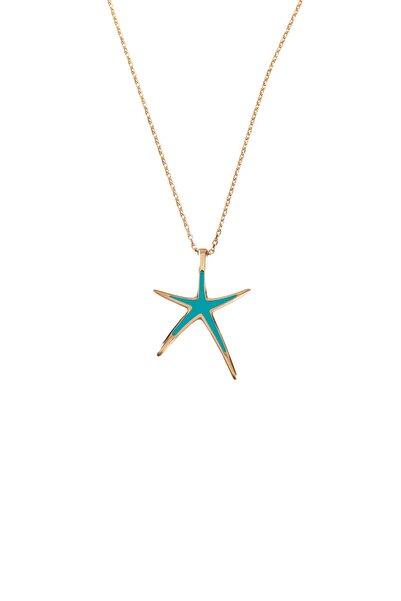 Jineps 925 Ayar Gümüş Deniz Yıldız Kolye Turkuaz Renk 46 Cm