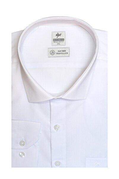 İgs Erkek Beyaz Regularfıt / Rahat Kalıp 7 Cm Klasik Gömlek