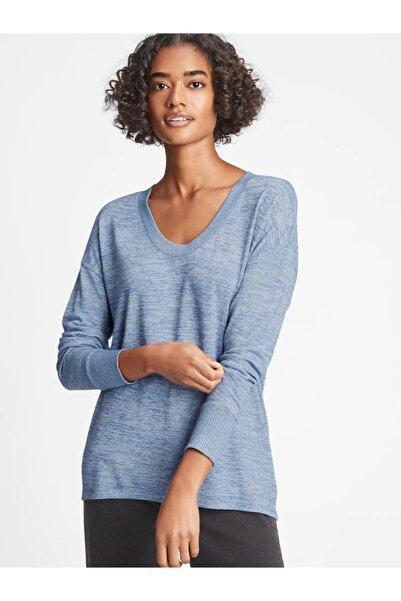 GAP Kadın Mavi Softspun Uzun Kollu T-shirt