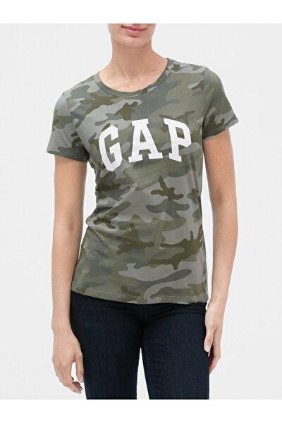 GAP Kadın Yeşil Logo Kısa Kollu T-shirt