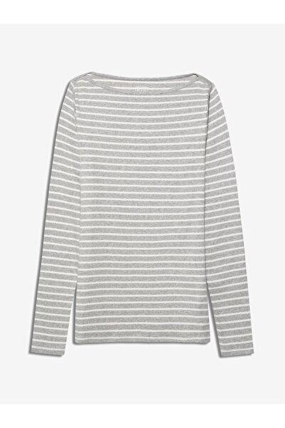 GAP Kadın Gri Uzun Kollu Çizgili T-shirt
