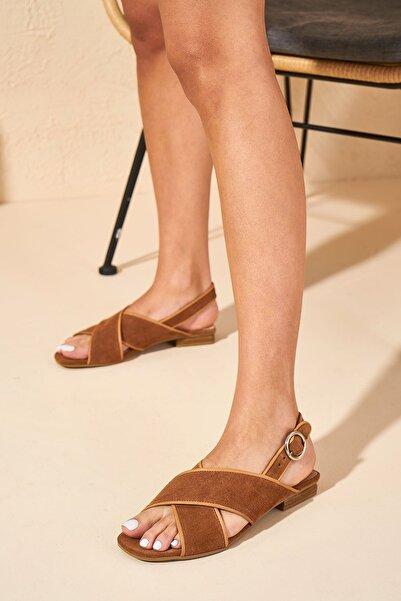 Louis Cardy Kadın Taba Emsy Hakiki Deri  Sandalet